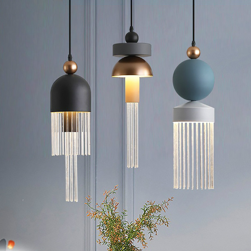 Nordic LED Glass Luster Pendant Lights Romantic Hanging Lamp Lighting Restaurant Pendant Lamp Modern Indoor Decor Light Fixtures