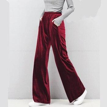Plus size Winter velvet trousers,Korean fashion women Autunm high waist streewear velour pants,black brown gray pants M-6XL 7XL 1