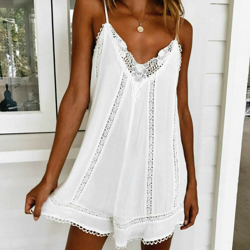 2019 Summer Women Slip Lace Dress White Sleeveless Beach Mini Dress Applique Flowers Strap Sundress Holiday Lady A-Line