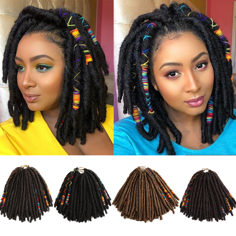 Bella Dreadlocks Faux Locs Braiding With Color Line Hair Extensions Synthetic Dreadlock Jumbo 12 Inch 12 Strands Crochet Hair
