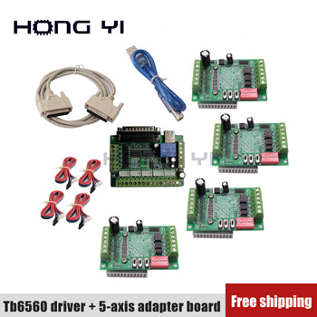 Free shipping 4-axis kit TB6560 Driver+ 5-axis adapter board Router NEMA17 NEMA23 Stepper Motor Driver 3.0A 10-35VDC
