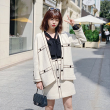 2019 Autumn New White-woven Coarse-and-white Small-and-white-style Women V-neck Short-cut V-Neck Cardigans Sweater women