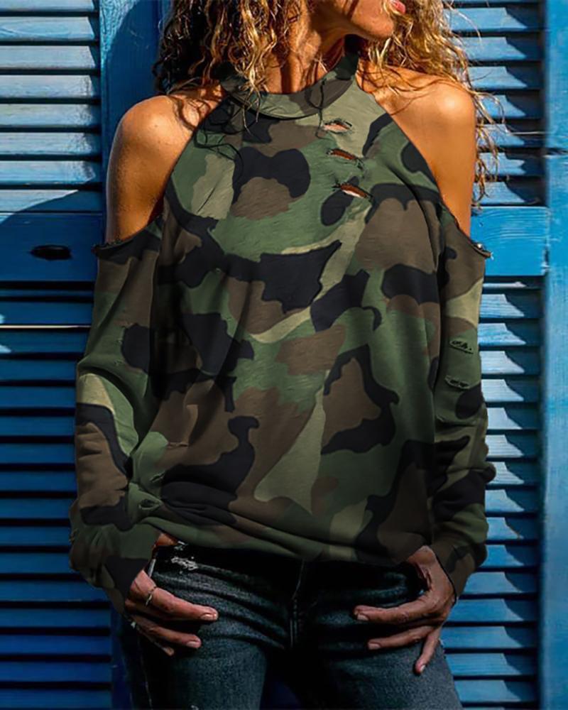 Camouflage Cold Shoulder Distress Design Casual Blouse