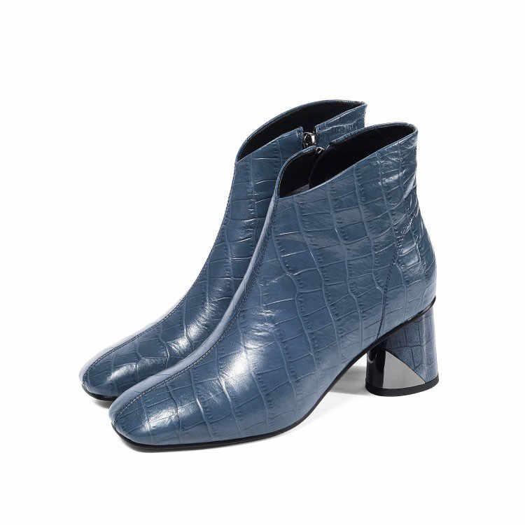 MLJUESE 2020 kadın yarım çizmeler inek deri kare ayak damalı fermuarlar kış kısa peluş yüksek topuklu kadın çizmeler parti elbise