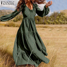 ZANZEA 2020 Stylish Ruffle Maxi Dress Casual Puff Sleeve Tunic Vestidos Female Solid Robe Women's Autumn Sundress Plus Size 5XL