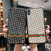 Glitter Plaid Luxury Phone Case for iPhone 11 Pro XR X Xs Max 8 7 6s Plus SE Soft Cases Back Cover Fashion Shell luxury matte leopard print phone case cover for iphone xs max xr x 8 7 6 6s plus 11 pro soft back cases colorful fashion shell