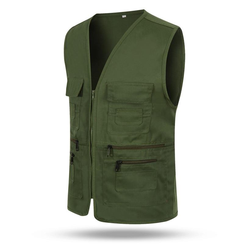 Multi-Pockets Tactical Vest Men's Jacket Sleeveless Cotton Casual Zipper Waistcoat Male Outerwear Slim Fit Male Jacket
