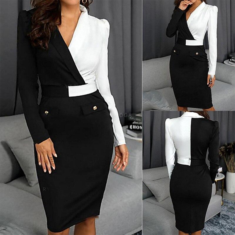 Blazer Dress Suits Women White Black Contrast Color Slim Jacket Long Sleeve Office Ladies Wear Work Elegant Party Frocks Dress