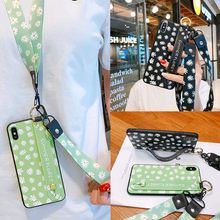 case for iphone 11 pro xs max xr x se 2020 7 8 6 6s plus cover daisy fower strap belt tpu+pc wristband holder phone bag capa fun(China)