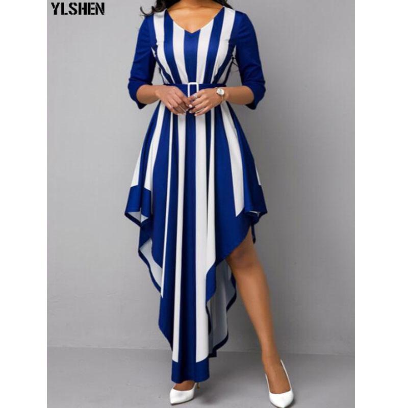 S-5XL African Dress Africa Dresses For Women Dashiki Irregular Stripe Print Bazin Maxi Dress Vestido Africano Robe Ladie Clothes