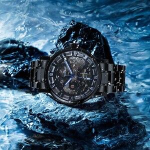 Image 5 - 수상작 공식 캐주얼 시계 남성 해골 기계식 시계 스틸 스트랩 로마 숫자 비즈니스 최고 브랜드 럭셔리 남성용 손목 시계