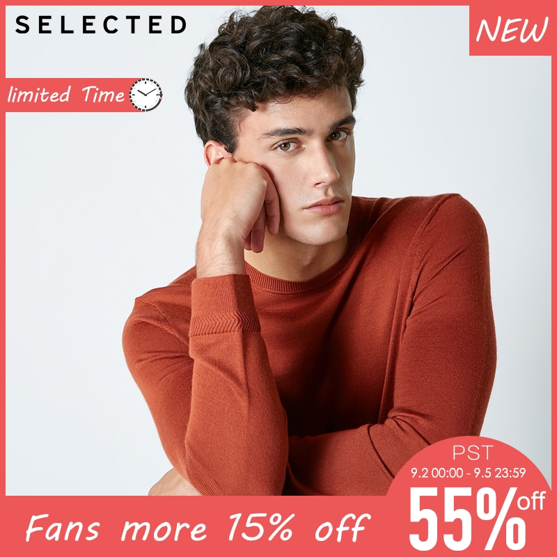 SELECTED Mens Base Sweater 100%  wool  Knitted Sweater| 418424503