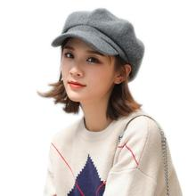 Women Hairy Dome Casual Beret Solid Color Cotton Cap Fashion Octagonal Hat Multi-color Optional