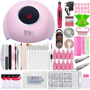 Image 1 - Set de manicura juego de uñas 24W UV lámpara LED secador Kit de uñas Gel eliminador de esmalte pedicura eléctrica taladro de uñas Lima herramientas de arte de uñas