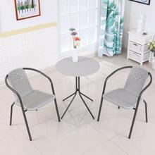 Круглая из каленого стекла стол, стол и стул сочетание открытый небольшой стол современный простой железный стол, журнальный столик для отдыха