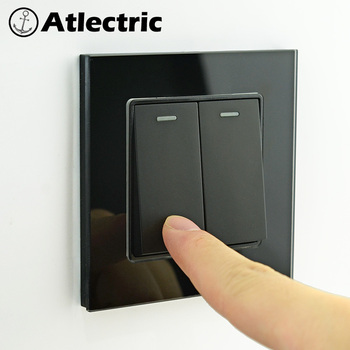 цена на Atlectric Light Switch Home Button Switch ON/OFF 1 2 3 4 Gang 1 2 Way EU FR Plug Wall Socket Glass Panel Electrical Outlet