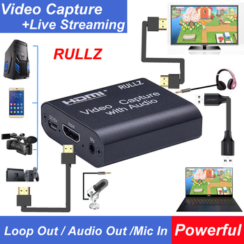 4K HDMI To USB 2.0 3.0 Loop Out Graphics Capture Card Video Recording Box PC Game Live Streaming Video Recorder Mic In Audio Out