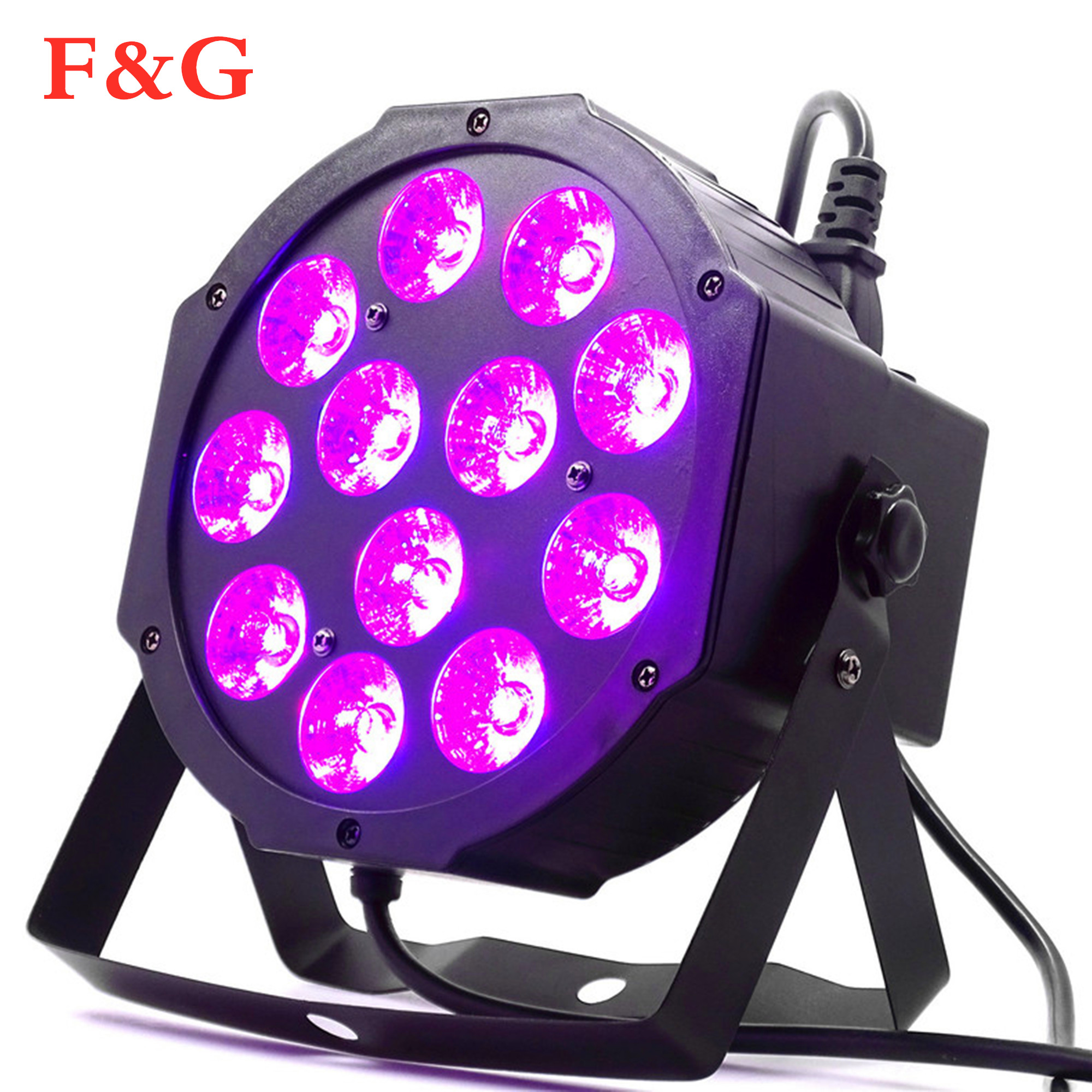 12x12W led Par nuestros productos incluyen pantallas 12 Uds 12w led lámpara kralen RGBW 4in1 par plana led dmx512 disco professioneel podio dj apparatuur