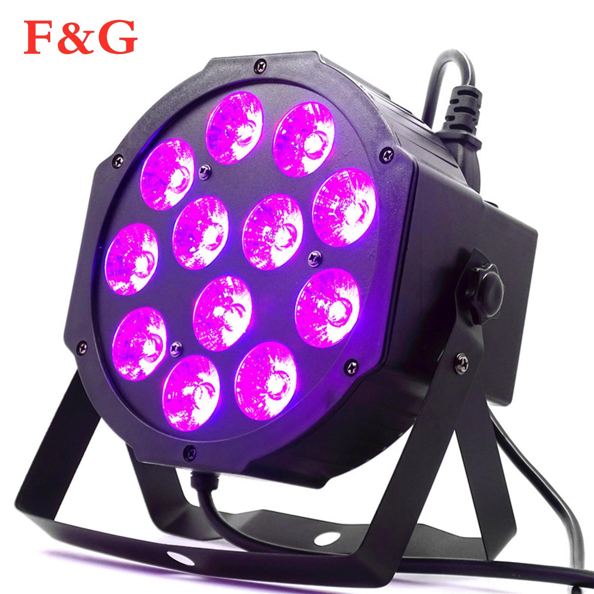 12x12W Led Par Verlichting 12pcs 12w Led Lamp Kralen RGBW 4in1 Flat Par Led Dmx512 Disco Professioneel Podium Dj Apparatuur