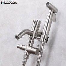 Faucet Toilet-Sprayer Brushed Shower-Set Nickel-Bidet 304-Stainless-Steel Handle Self-Cleaning-Gun