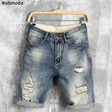 2019 summer denim shorts male jeans men jean shorts bermuda skate board harem mens jogger ankle ripped wave Hole jeans Casual