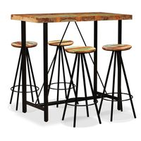 High Quality VidaXL Dinning Table Set Solid Wood and Steel Bar Table Chairs Set High End Cocktail Table Bar Furniture 5pcs