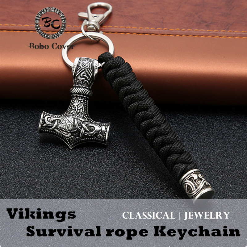 Vintage Handmade Keychain Viking Rune Hammer Car KeyRing Mjolnir Outdoor Mountaineering Survival Braided Rope Men Norse Jewelry