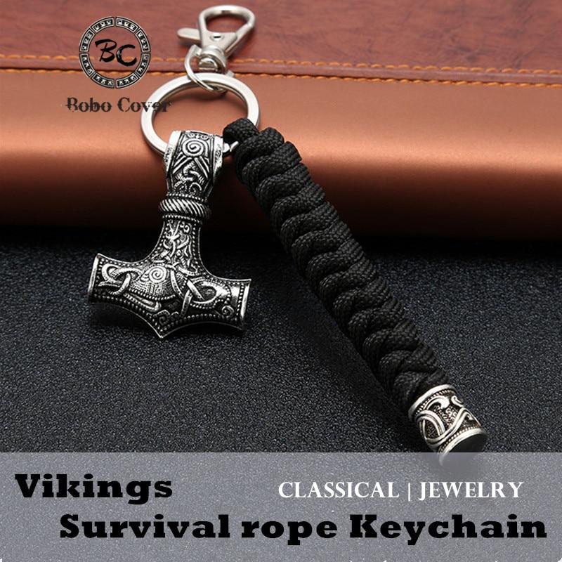 Vintage Handmade Keychain Viking Rune Hammer Car KeyRing Mjolnir Outdoor Mountaineering Survival Braided Rope Men Norse Jewelry