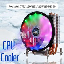 120 Mm CPU Cooler 6 Pipa Panas Kipas Pendingin Fan Tenang Cooler Fan Radiator Heatsink Cooler untuk Intel 775/ 1150/1151/1155/1156/1366(China)