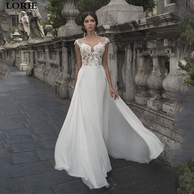 LORIE Boho Wedding Dresses Cap Sleeve Appliqued Lace Bride Dress Wedding Gown Light Chiffon Vestido De Novia