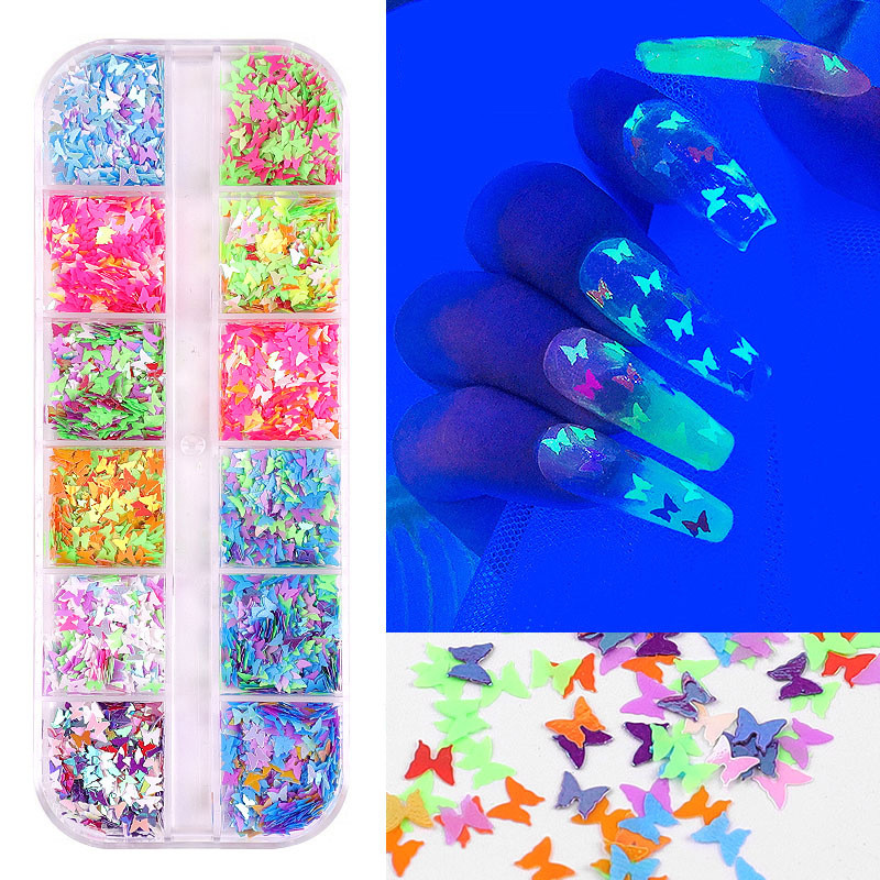 12 Grid/Set Sparkly Butterfly Nail Sequins Mixed Neon Laser Nail Glitters 3D Flakes Slices Nail Art Decorations