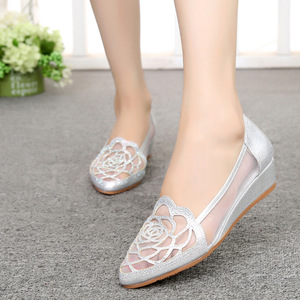 Image 4 - STAN SHARK New Womens Summer Fish Mouth Wedge Sandals Shoes Rhinestones OL Hollow Net Shoes