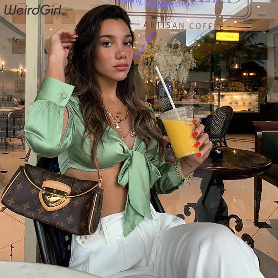 قمصان نسائية جذابة على الموضة من weirdgirl ، بفيونكة عقدة على شكل فراشة ، بلوزات ضيقة مقصوصة للحفلات والنوادي ، بلوزات خريفية بأكمام كاملة 2019