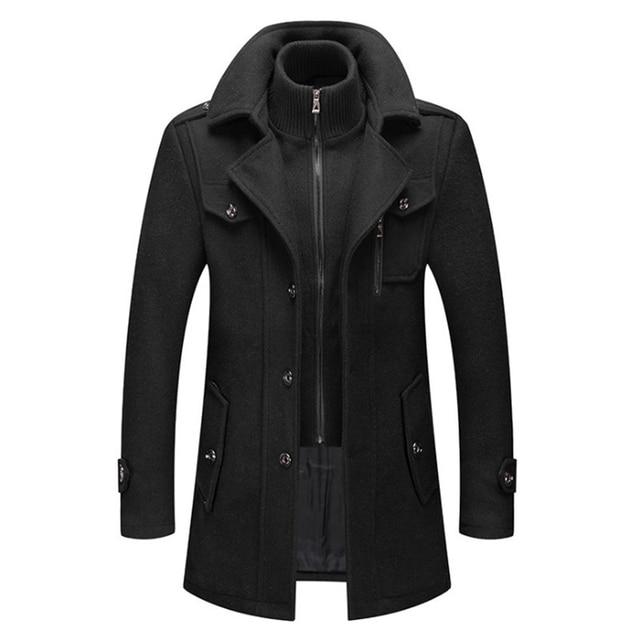 New Men Wool Blends Coats Autumn Winter Solid Color Cold Resistant Men Woolen Overcoat Double Collar Casual Trench Coat Male 5