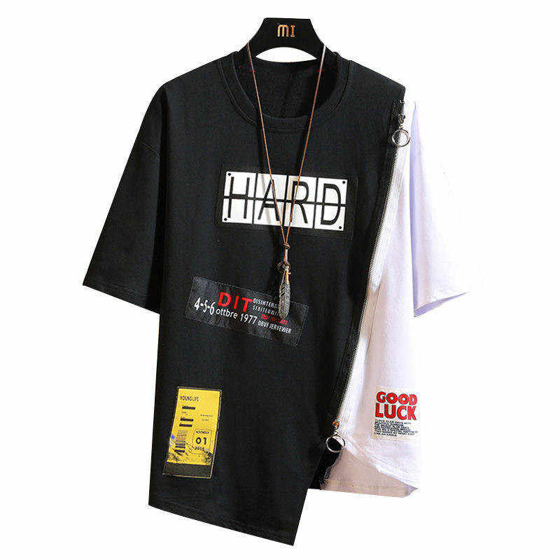 Sommer Koreanische Hip Hop T-shirt Streetwear Tops Casual Übergroßen Zipper T-shirt Kleidung der Männer Kühlen Losen Punk Japan T Shirts männlichen