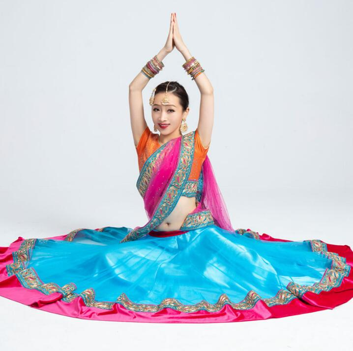 India Sarees Traditional Costume Ethnic Style Kurtas Woman Performance Dance Suits Top+Skirt+Scarf