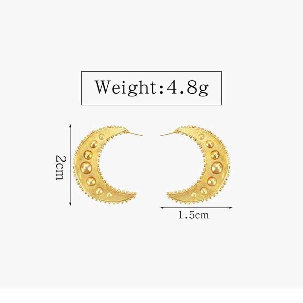 פשוט רטרו ירח שמש מתכת זהב גבירותיי תליון עגילי תכשיטי נשים גיאומטרי C עיצוב סגסוגת עגיל מסיבת מתנות חברה