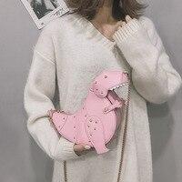Rivet Personality Dinosaur Design Fashion Leather Crossbody Mini Messenger Bag Women Chain Purse Female Shoulder Bag Gift
