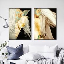 Pintura al óleo Vintage diseño de estilo blanco lienzo de caballo pintura arte de pared Poster estampado pintura para la decoración moderna de la sala de estar