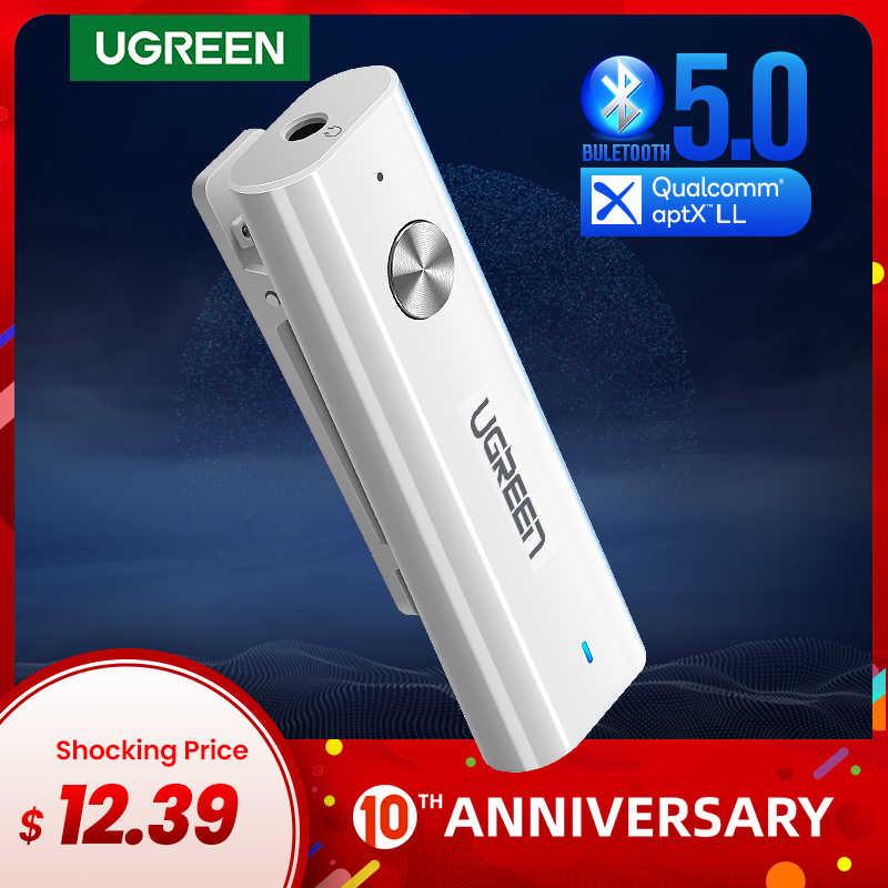 Ugreen odbiornik Bluetooth 5.0 3.5mm APTX LL Adapter AUX do zestaw słuchawkowy z głośnikiem muzyka bezprzewodowy odbiornik audio Bluetooth 3.5 Jack