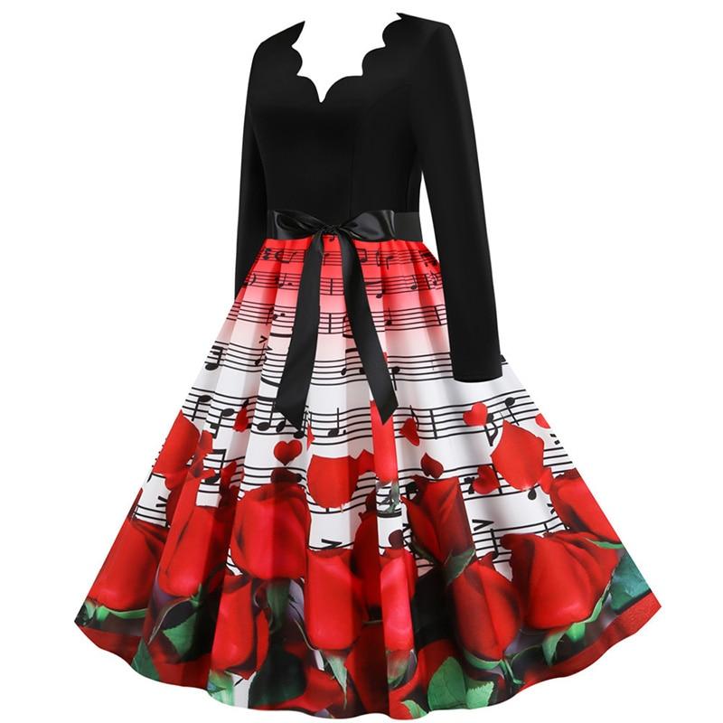 Women Long Sleeve Winter Vintage Dresses Sexy Black Music Note Print V-neck Rockabilly Pin up Party Dress Vestidos Plus size 582