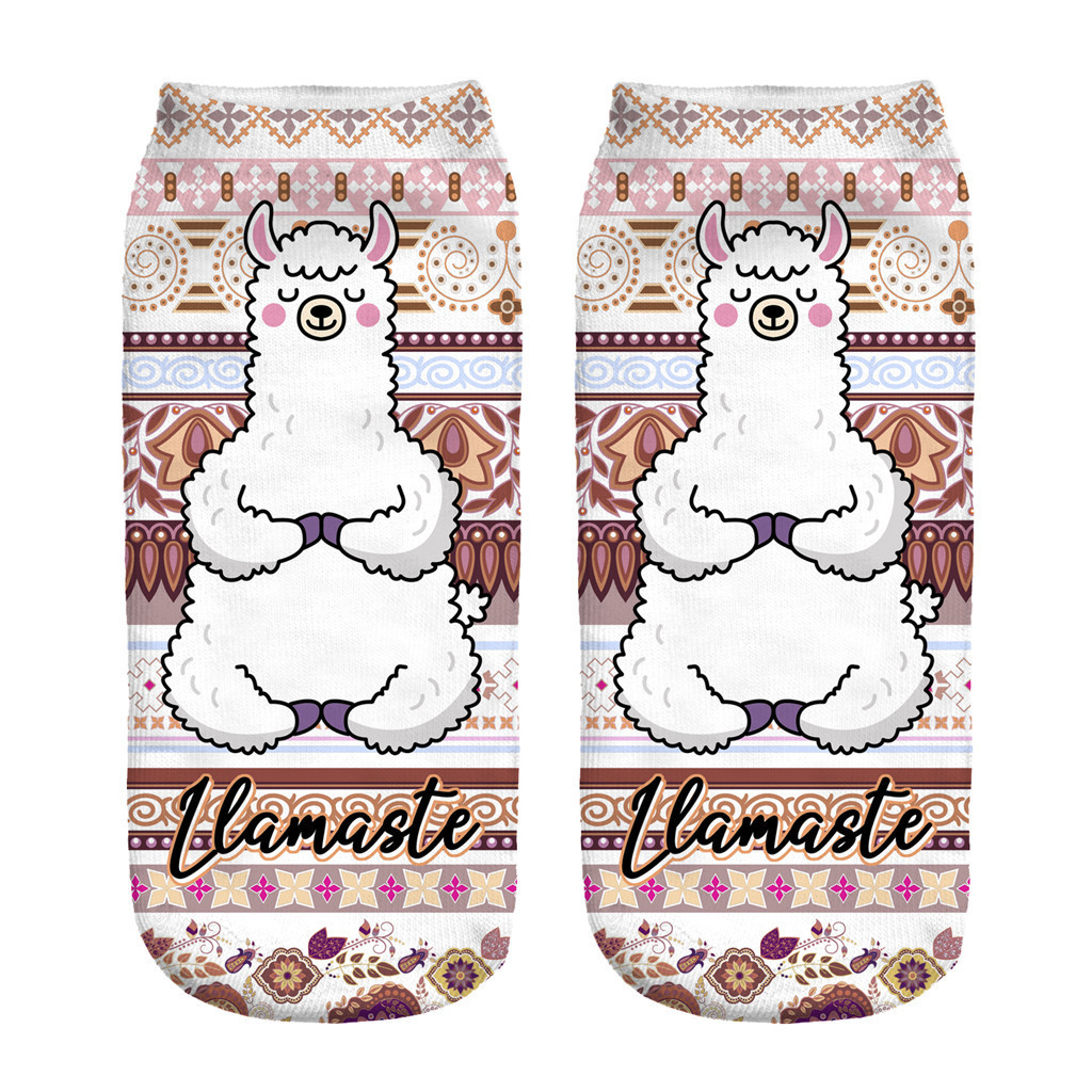 3D Digital Printing Alpaca Female Socks Adult Invisible Socks Magic Socks Ankle Socks 3D Printing Sock Art Socks For Female Y926