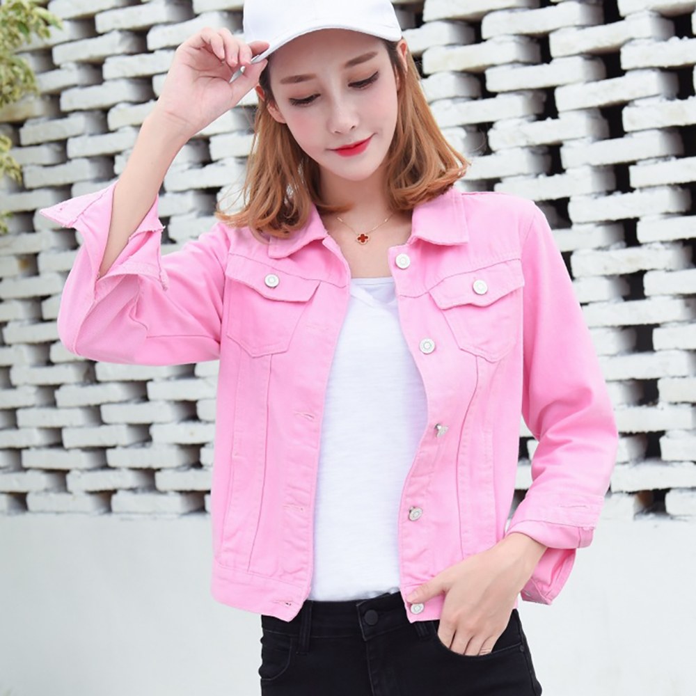 Jeans Jacket and Coats for Women 2019 Autumn Candy Color Casual Short Denim Jacket Chaqueta Mujer