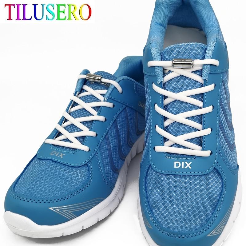 1 Pair Metal Lock NO TIE Shoelaces Stretched Lazy Round Shoe Lace Slip-on Shoelaces Elastic Laces Shoestrings 16 Colors