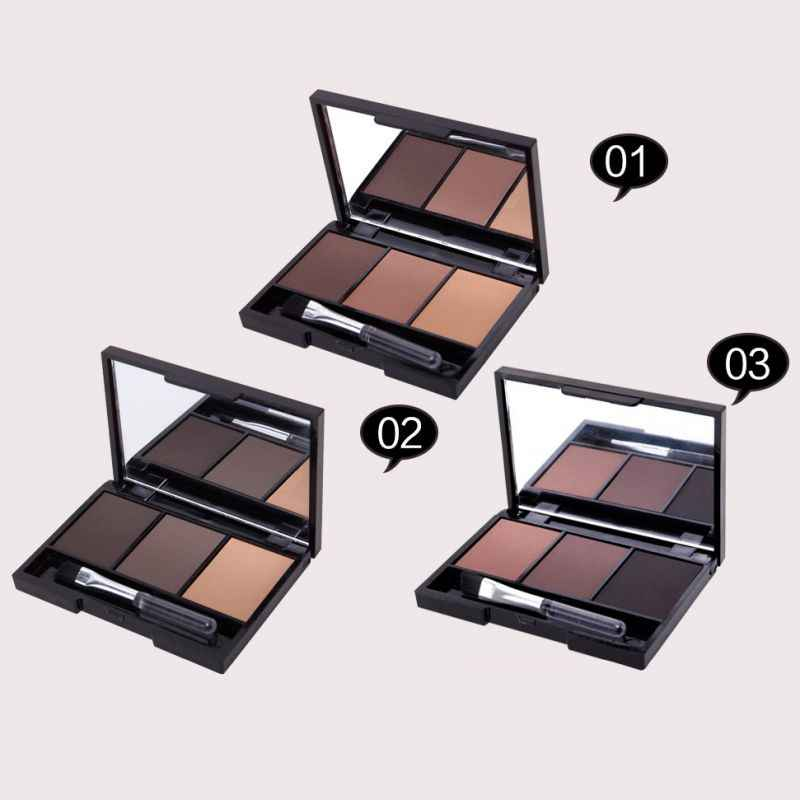 Profesional 3 Warna Set Wanita Makeup Eyeshadow Palet Alis Eye Shadow Bubuk Kosmetik