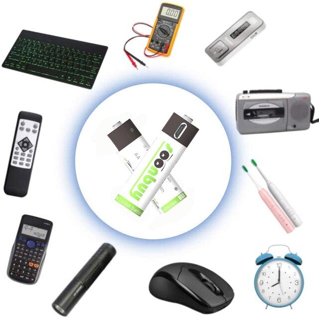 Soonbuy 4 sztuk AA 1.5 v1500mAh pojemność 2250mwh akumulator litowo polimerowy akumulator litowo-jonowy z akumulator litowy wielokrotnego ładowania USB + kabel USB