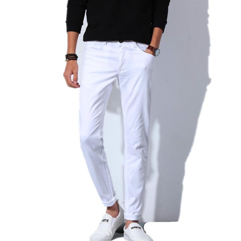Pantalones Vaqueros Blancos De Moda Para Hombre Tallas Grandes 28 38 Pantalones Vaqueros Informales De Moda Para Hombre Pantalones Vaqueros Elasticos Pequenos Para Primavera Y Otono Pantalones Vaqueros Aliexpress