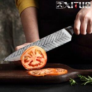 Image 4 - Xituo damasco chef faca profissional japão sankotu cutelo desossamento gyuto faca de cozinha ferramenta de cozinha requintado ameixa rebite lidar com
