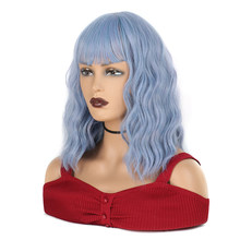 Short Bob Wig with Air Bangs Synthetic Cosplay Wig for Women Shoulder Length Wave Wig 12 Inch for Girl Colorful Costume Wigs(China)