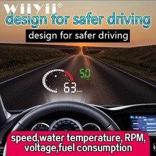WiiYii X6 HUD OBD2 pantalla frontal para coche 3 pulgadas sistema de advertencia de seguridad de exceso de velocidad parabrisas proyector alarma de voltaje